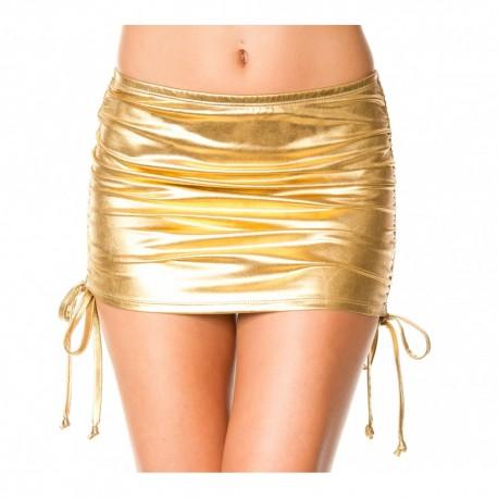 Mini jupe droite, effet métallique, liens pour ajuster hauteur