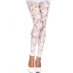Legging blanc fin transparent motif fleuri