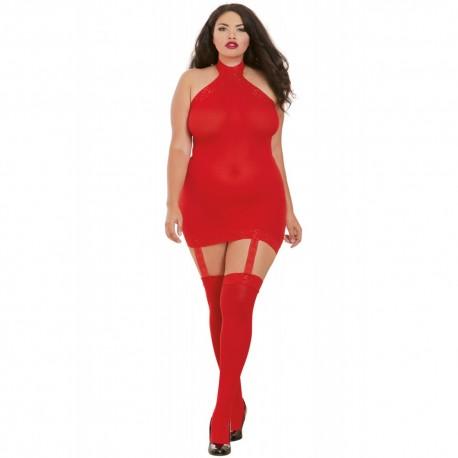 Bodystocking rouge grande taille effet guêpière avec dentelle
