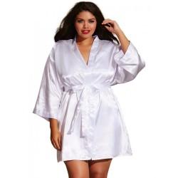 Kimono satin, ceinture attachée, nuisette et cintre assorti