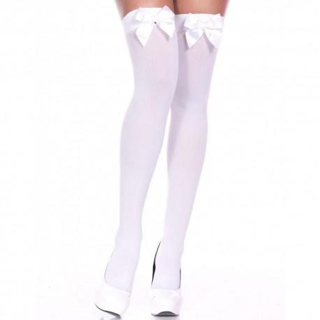 Bas opaques autofixants blancs noeuds satinés blancs