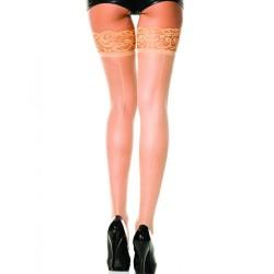 Bas chairs autofixants nylon voile couture et jarretières dentelle