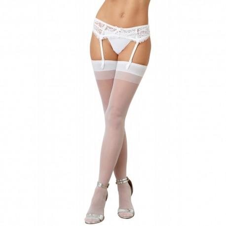 Bas nylon blancs coutures pour jarretelles