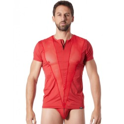 T-Shirt rouge doux avec bandes résille col rond et zip