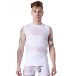 T-shirt débardeur blanc col rond opaque et transparent avec fines rayures