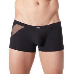 Boxer noir sexy avec bandes fine résille et déco zippée