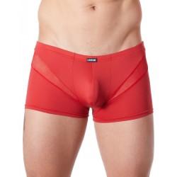 Boxer rouge sexy avec fine résille en V
