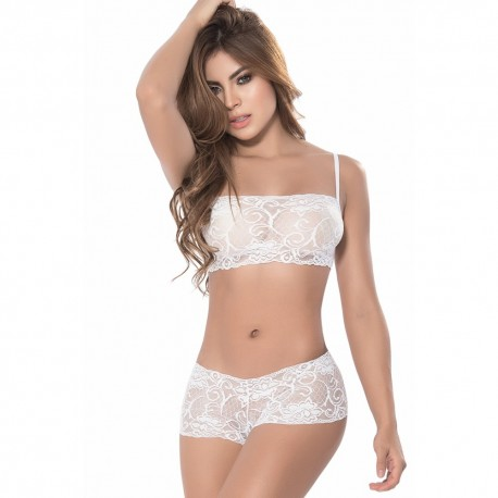 Ensemble lingerie blanc top bustier et shorty dentelle