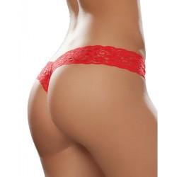 String brésilien rouge en dentelle