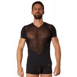 T-shirt noir finement ajouré et transparence