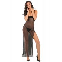 Nuisette longue fendue transparente avec soutien-gorge seins nus