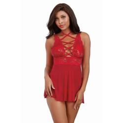 Nuisette rouge avec ornements et culotte assortie