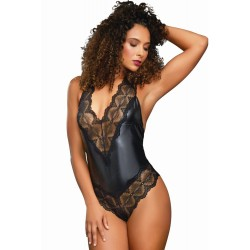 Body string noir wetlook et larges bandes de dentelle