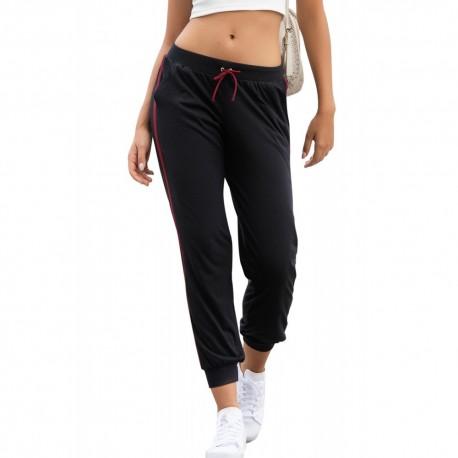 Pantalon noir ample sportif façon jogging avec deco linéaires