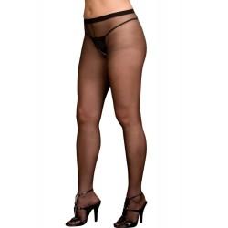 Collant noir grande taille nylon ouverture à l'entre-jambes et sur les fesses
