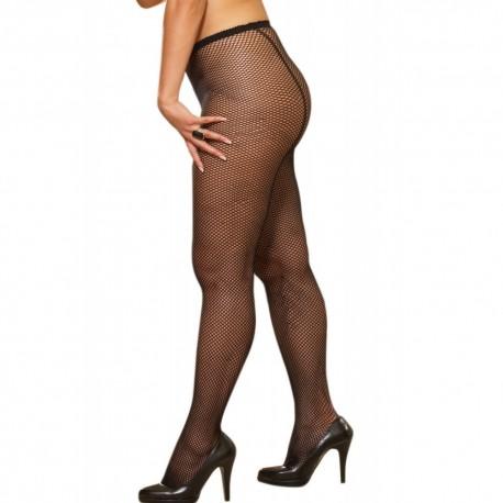 Collant couture grande taille nylon noir fine résille