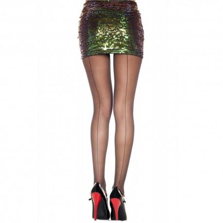 Collant noir nylon coutures
