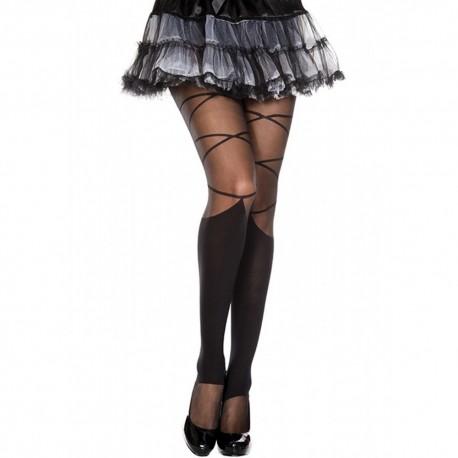 Collant nylon fantaisie noir effet jambières et lacets