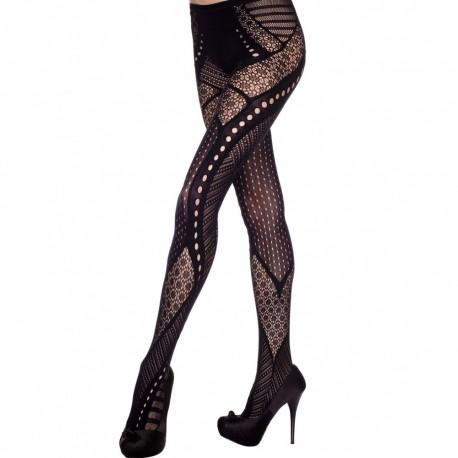 Collant fantaisie noir effet glamour