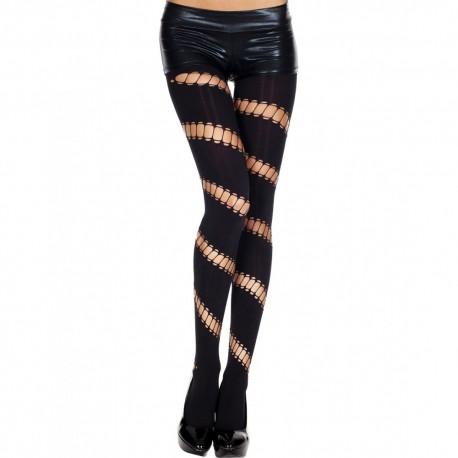 Collant legging noir opaque ajouré asymétrique