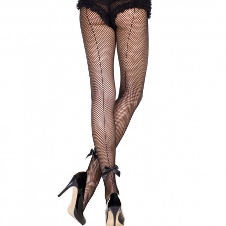 Collant sexy resille noir avec couture et noeuds satinés
