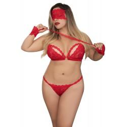 Ensemble dentelle rouge grande taille masque et menottes