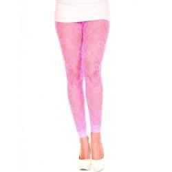 Legging fin dentelle rose