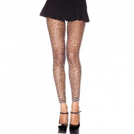 Legging fine résille léopard