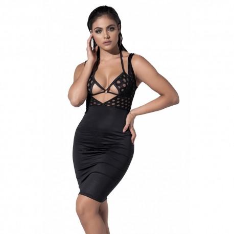 Robe noir aspect tissu mouillé - MAL4531BLK