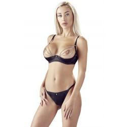Soutien-gorge sexy demi-seins en satin avec chainette et string - OR2221179BLK