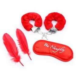 Kit coquin 4 pièces : Menottes, 2 plumes et masque rouge - 332400005
