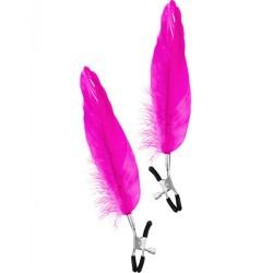 Pinces à seins pression réglable grande plume rose - CC5700700204