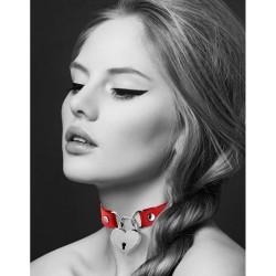 Collier en cuir rouge SM avec pendentif cadenas coeur argenté - CC6060040030